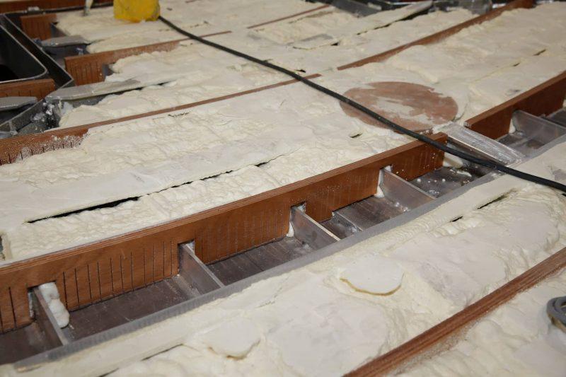 The interior and foam insulation on an aluminium yacht