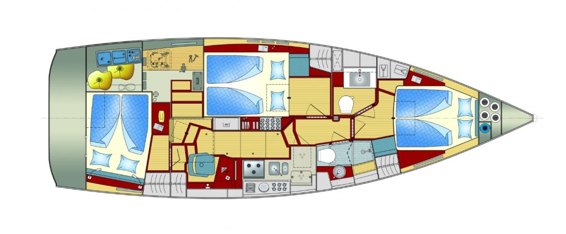 Sirius 40 DS - interior - 6-berth favorite version with island style bed in front cabin