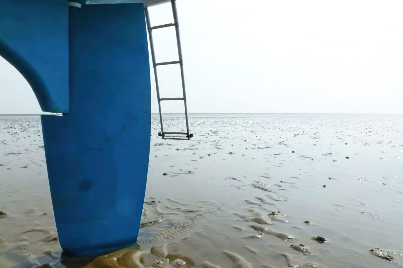 The wide foil at the tip of the rudder spreads the load and prevents the rudder blade from sinking in